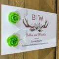 Sparkling Rose Stud Earrings - Green