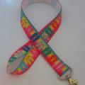 Bright flip flop tropical beach lanyard / ID holder / badge holder