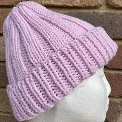 Pink knitted merino beanie
