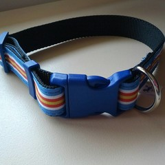 Blue striped adjustable dog collar medium