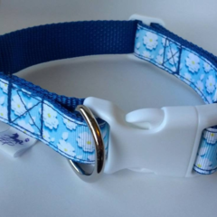 Blue flower adjustable dog collar