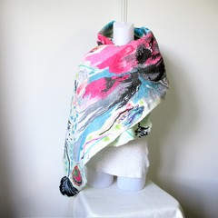 Felted Scarf Wool Silk Nuno Felt Wrap Shawl Turquoise Pink