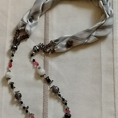 Silver/ Grey Entwined textile necklace,  Mother's Day Sale