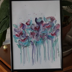 Watercolour Original - Field of Flowers - not a print - NO FRAME
