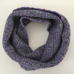Merino Wool Loop Scarf, Handwoven, Hand Dyed, Aqua & Purple