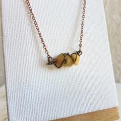 Dainty Minimal small gemstone chip wire wrapped bar Necklace , Yellow Orange