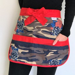 Teacher Apron Denim Cargo Roses Six pockets FREE POST!
