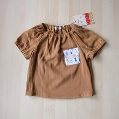 Size 18M/Pocket Blouse/Boy Girl/Toddler/Baby/ -Rainy Days-Brown