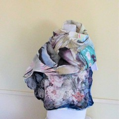 Beautiful Felted Scarf Wool Silk Colourful