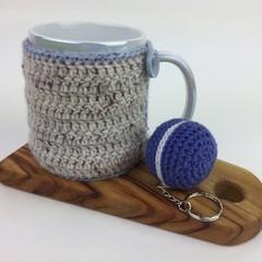 Teatime Crochet Mug Cosy | Novelty Macaron Key Ring | Hand Crocheted | Gift Idea