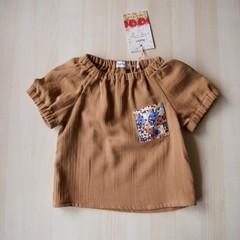 Size 18M/Pocket Blouse/Boy Girl/Toddler/Baby/ -Liberty flower-Brown