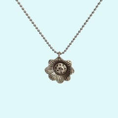 Silver sunflower necklace, cute yoga necklace, flower lover gift