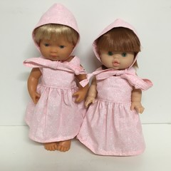 Miniland and Minikane Dolls  Dress and Bonnet to fit 38cm Dolls