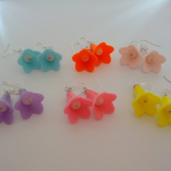 Bright and bold flower dangle earrings