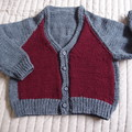 SIZE 3-4 :Hand knitted cardigan in multi colour : Unisex, washable, OOAK