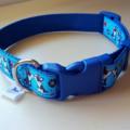 Blue dog print adjustable dog collar