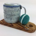 Teatime Crochet Mug Cosy | Novelty Macaron Key Ring | Hand Crocheted | Gift Idea