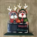 Painted Teddy Bears dressed in Reindeer Outfits Count Down Sign