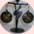 Black, gold and opalescent earrings