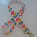 Blue pink and yellow Easter egg print lanyard / ID holder / badge holder
