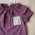 Size 5/Pocket Blouse/Boy Girl/Toddler/Baby/ Kids/-Liberty flower-Burgundy