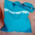 Blue tote bag / shopping bag with cute dog trim