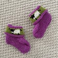 Purple/Pink sheep  booties - Hand knitted in Pure Wool