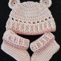 Baby girls crochet bear hat and matching booties Size Newborn - 3 months
