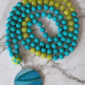 Good luck mala necklace jade gemstone beads, 108 mala beads, pendant necklace