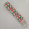 Cherry print key fob wristlet