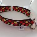 Brown flower print adjustable dog collar medium