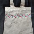 Christmas bird print small cotton tote bag