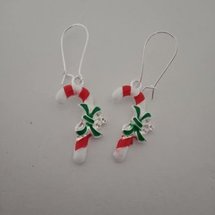 Candy cane Christmas earrings