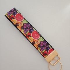 Bright fruit print key fob wristlet