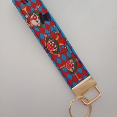 Clown print key fob wristlet