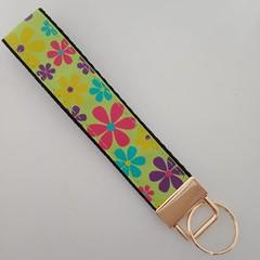 Bright green flower print key fob wristlet