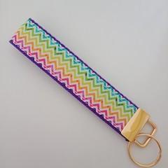 Chevron rainbow print key fob wristlet