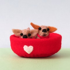 Miniature Felt dog bed, wool felt animal bed, dollhouse play set, dog lovers