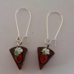 Chocolate cake charm earrings