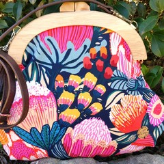 Bright floral handbag with crossbody strap