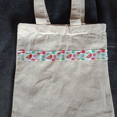 Christmas bird print small cotton tote bag