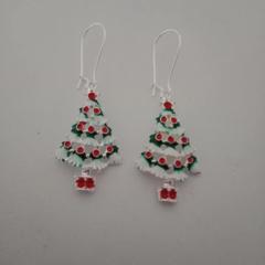 White Christmas tree charm earrings