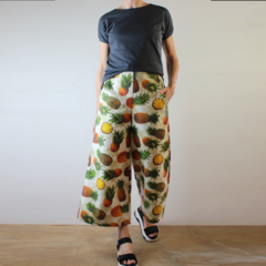 Pineapple Cropped Wide Leg Corduroy Pants with Pockets, Flat Front and Elastic W