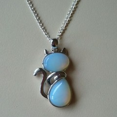 White opalite cat charm pendant necklace