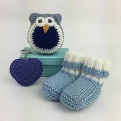 Newborn Baby Gift Set | Booties | Owl | Key Ring | Hand Knitted | Hand Crocheted