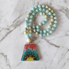 Inspiration necklace, amazonite gemstone beads, 54 mala beads, pendant necklace