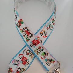 Christmas penguin lanyard / ID holder / badge holder