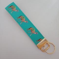 Camel print key fob wristlet