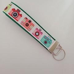 Camera print key fob wristlet