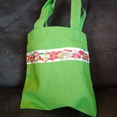 Green mini tote bag / gift bag with cute owl trim